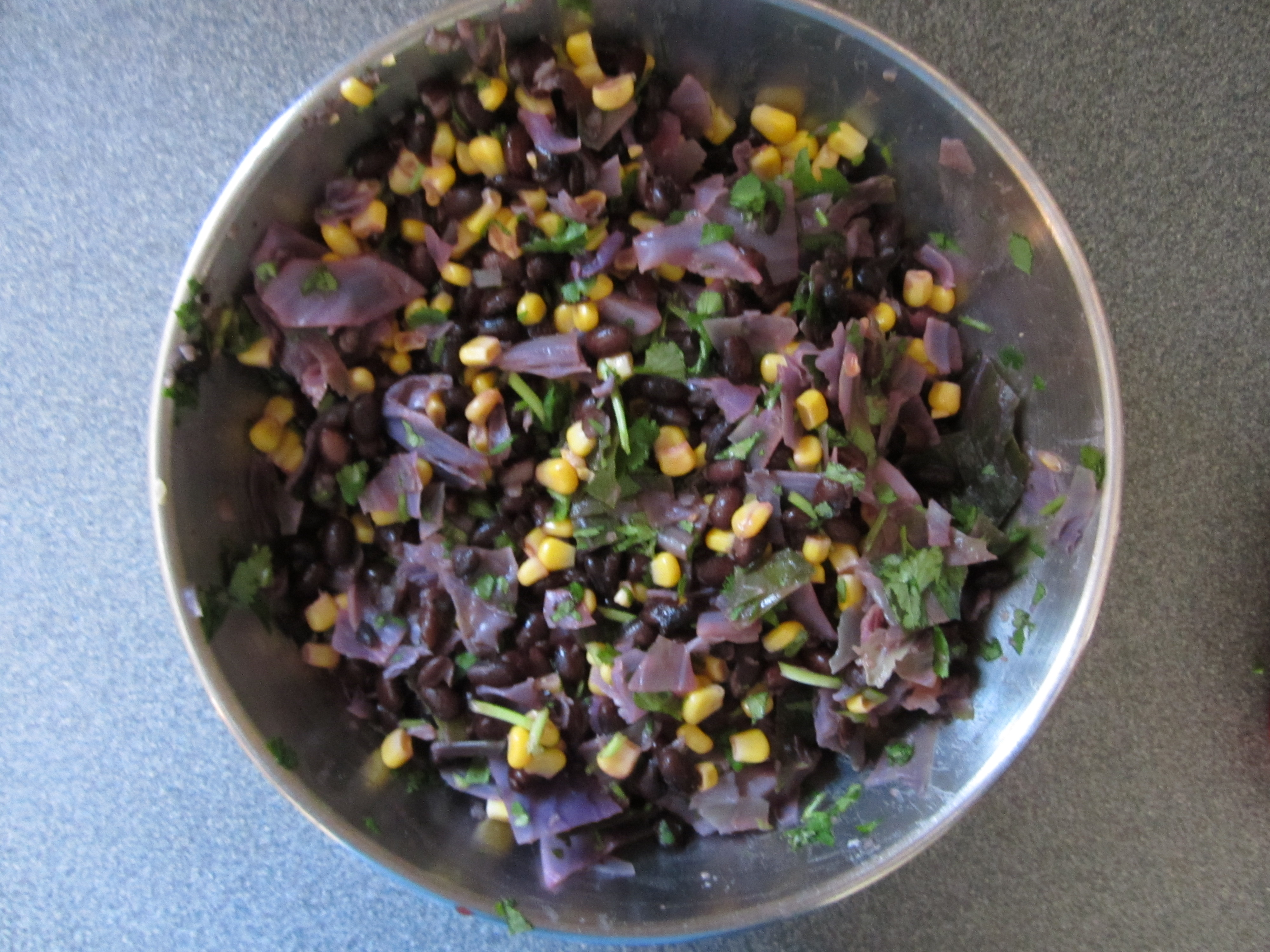 Southwestern black bean and red cabbage salad.