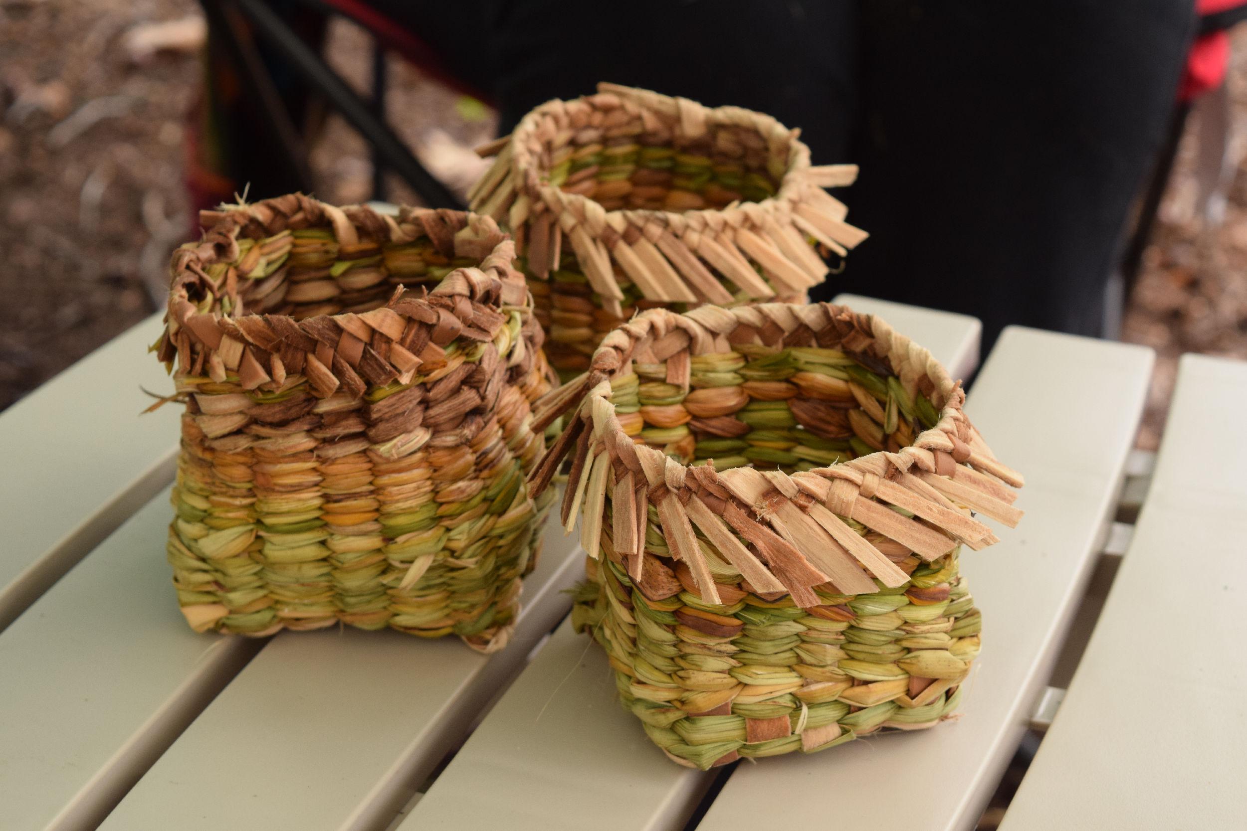 cattail and iris baskets