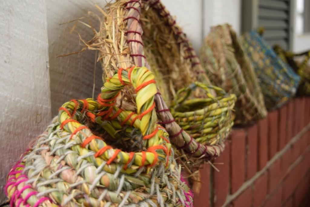 grass and cattail baskets