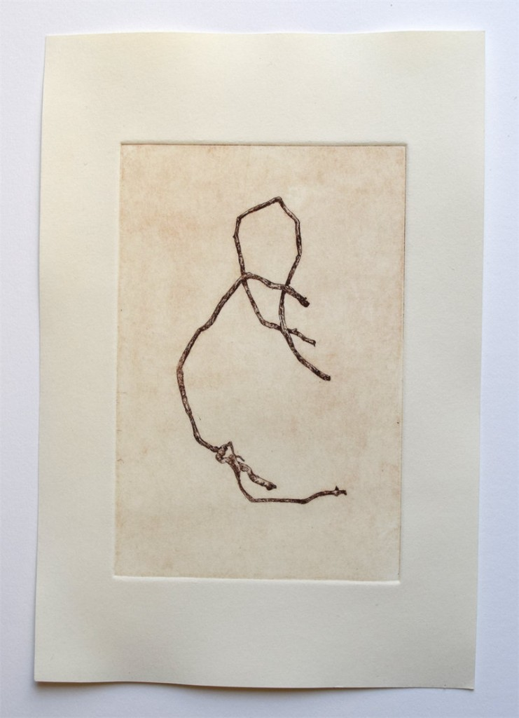 "Sturdy Stick, 6"" x 9"", etching, edition of 7, $45"