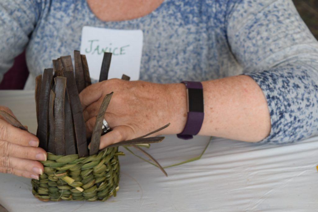 Weaving a twined basket
