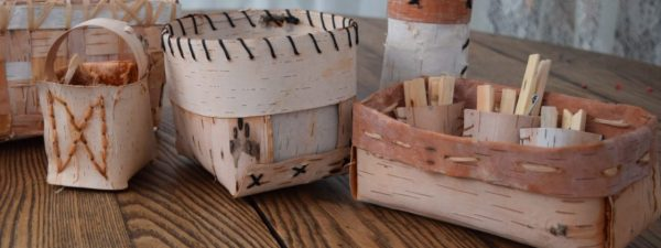 folded birch bark baskets with katie grove