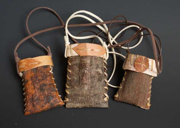 Medicine Necklaces  /  Approx. 2″ X 3″ X 3/4″ Plus Leather Necklace  / White Pine Bark, Birch Bark, Artificial Sinew, Leather