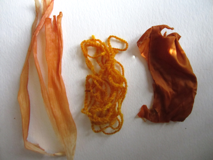 From right to left: cornhusk, wool, and silk dyed with yellow onion skins
