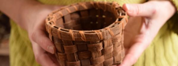 woven tulip poplar bark basket