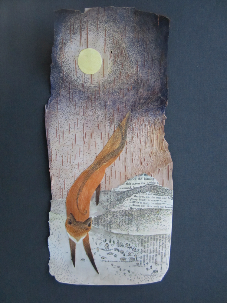 "Fox Brings Night to the Valley"", watercolor, pen, collage on birch bark"