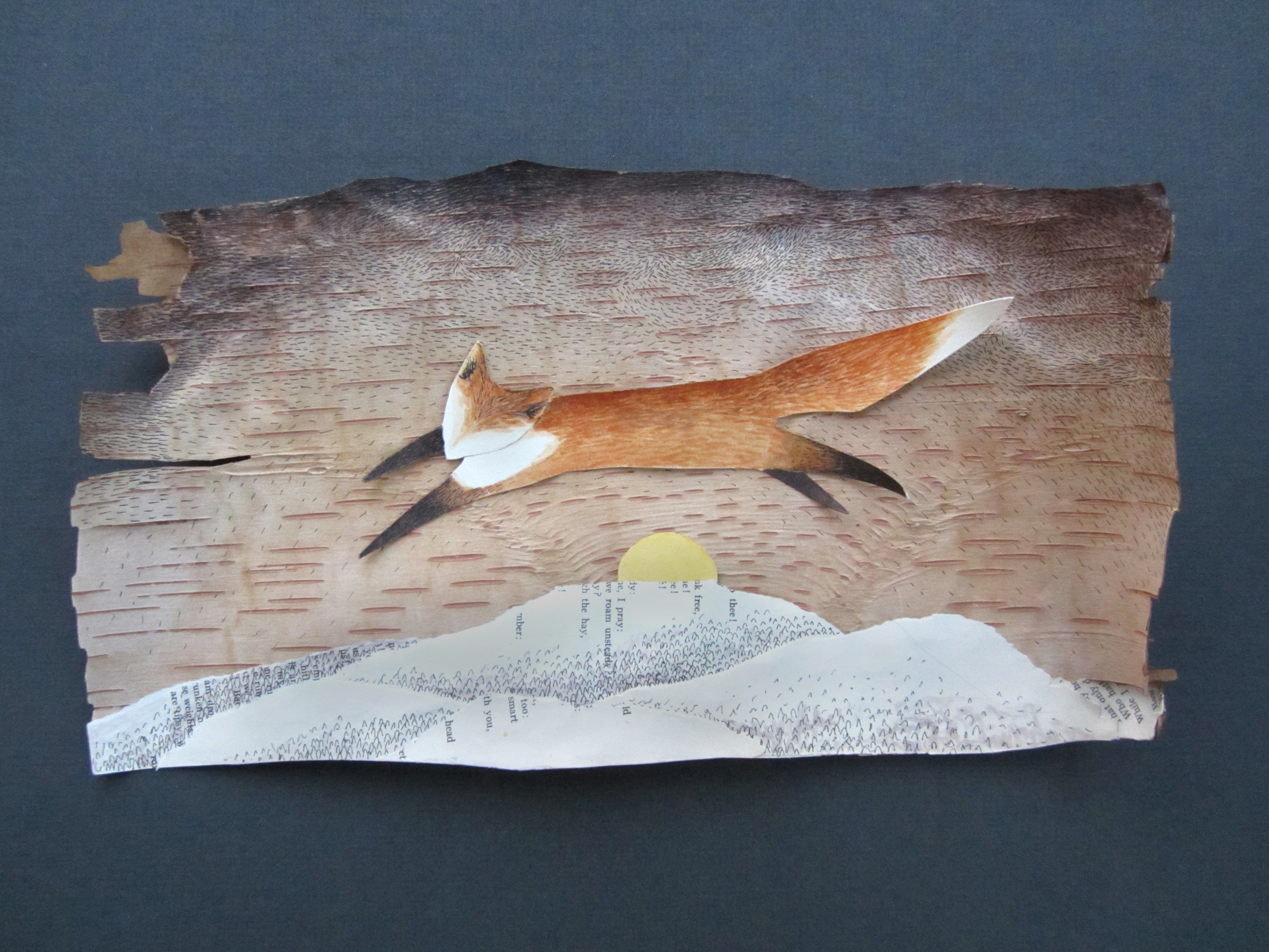 """Fox Greets the Rising Sun"", watercolor, pen, and collage on birch bark."