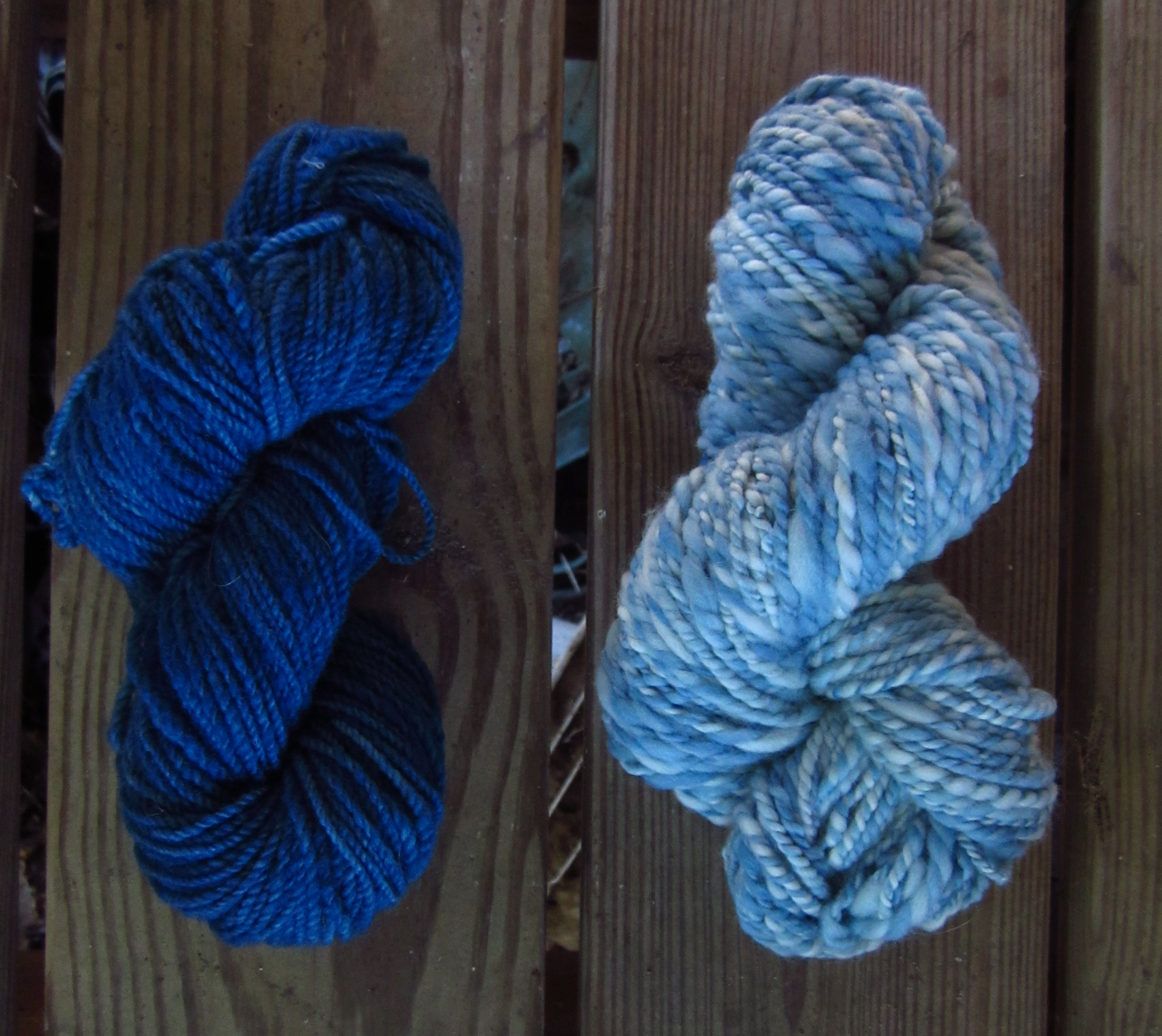 The Dark One Is The First Dye Bath And The Second Is Roving That Was Dyed Unevenly In The Second Batch And Then Spun.