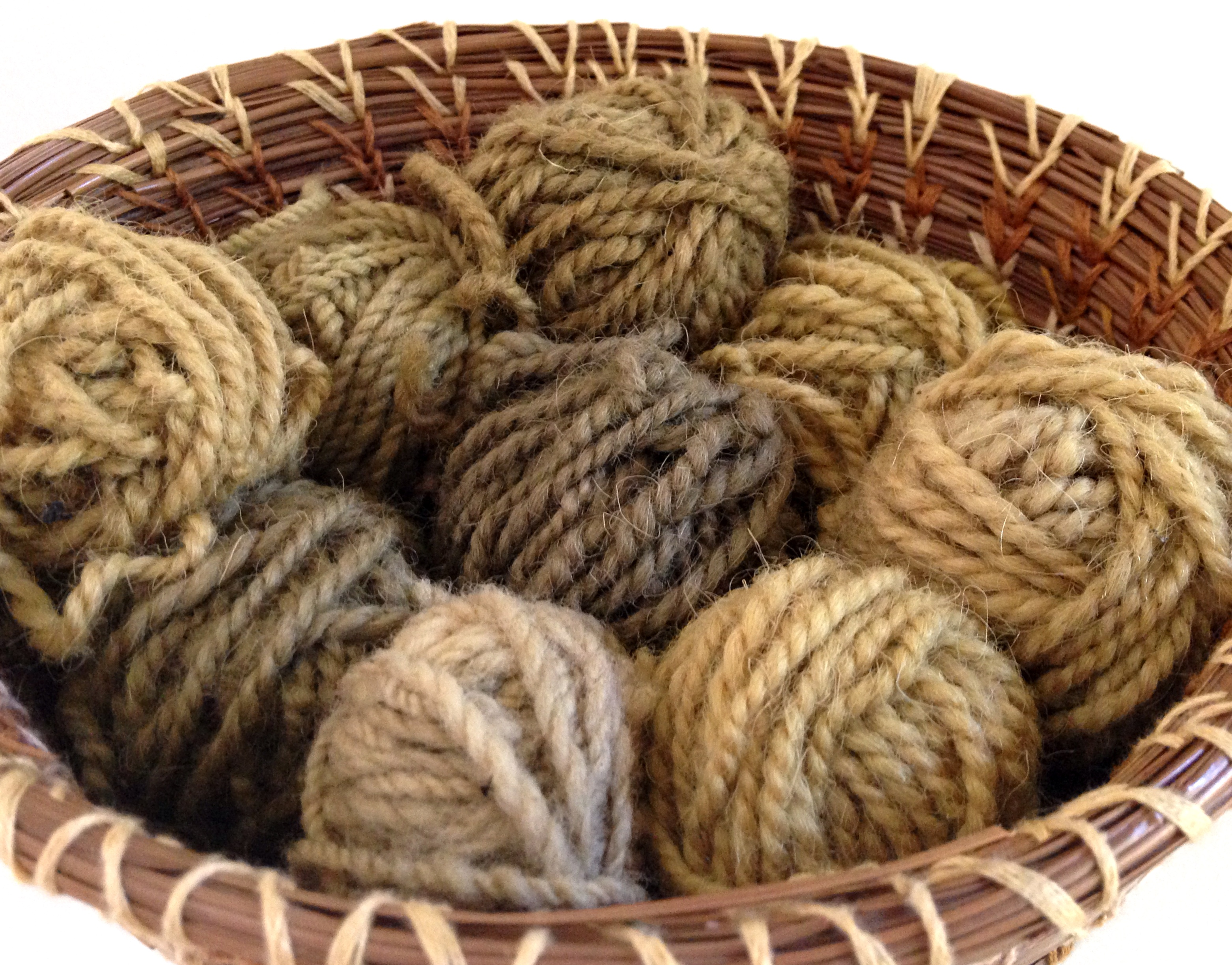 stinging nettle dye, plant dye, natural dyes, coiled pine needle basket, close up of yarn