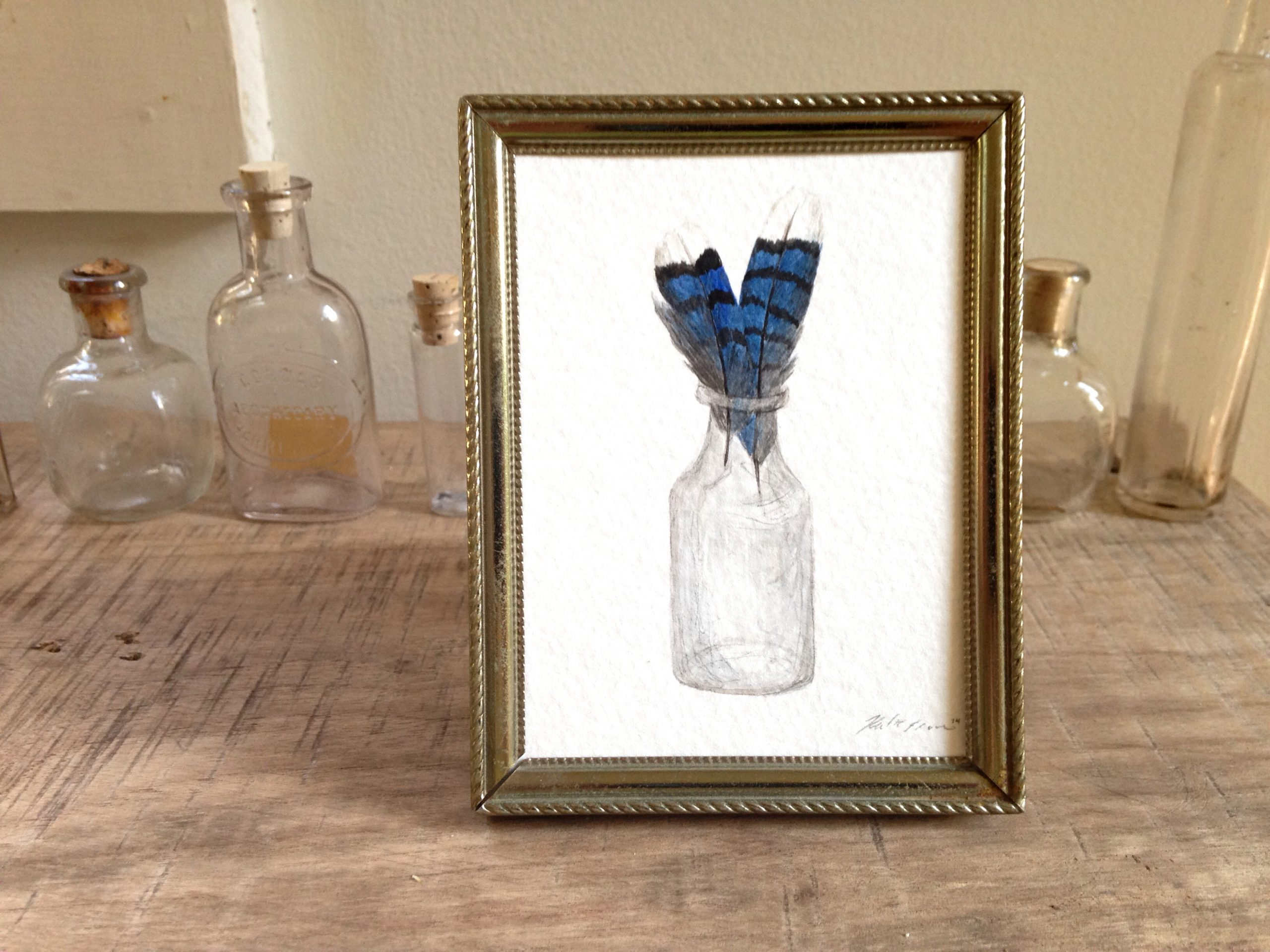 Blue Jay Feathers In A Glass Jar, Original Bird Feather Watercolor Painting