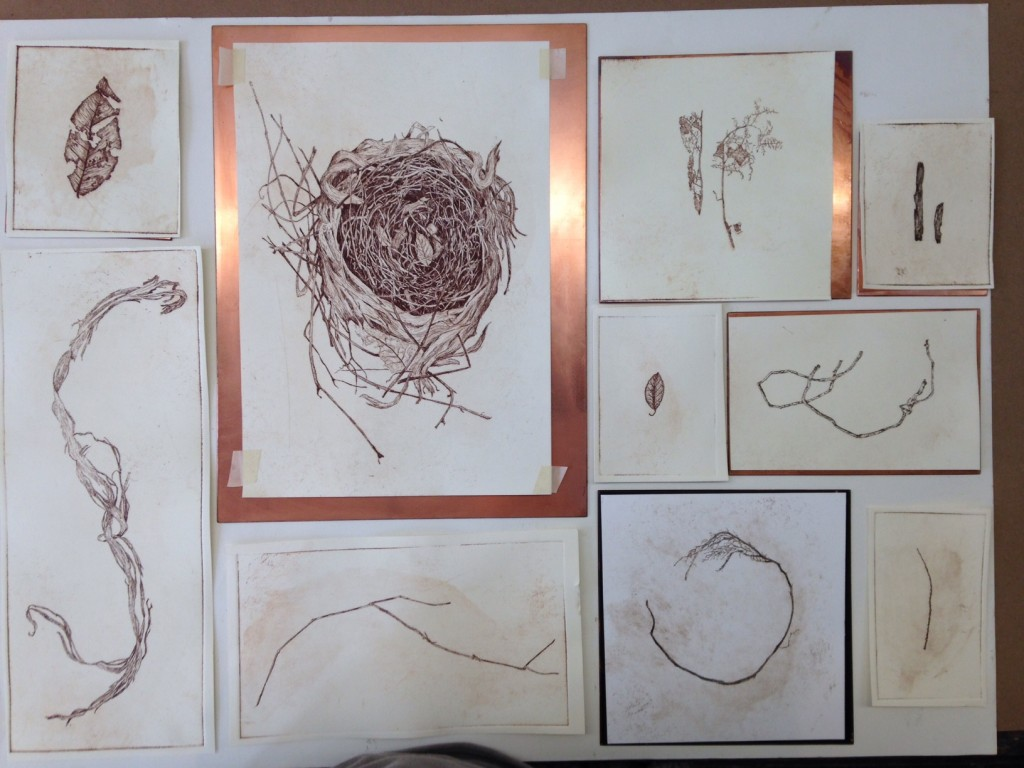 etching proofs, women's studio workshop