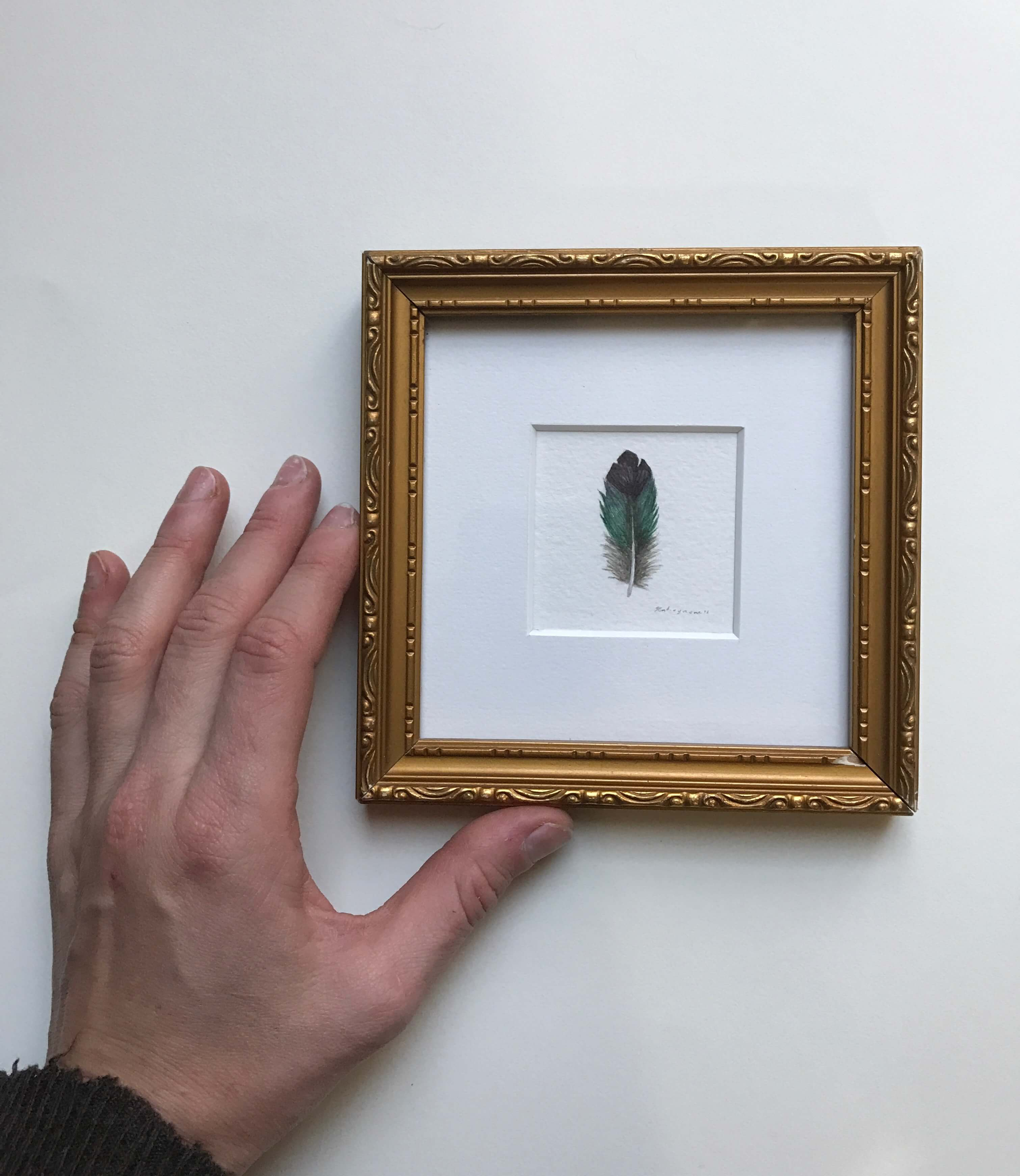 "Violet Green Swallow Feather/ Watercolor In A Vintage Gold Painted Frame/ 5"" X 5"" / $85"