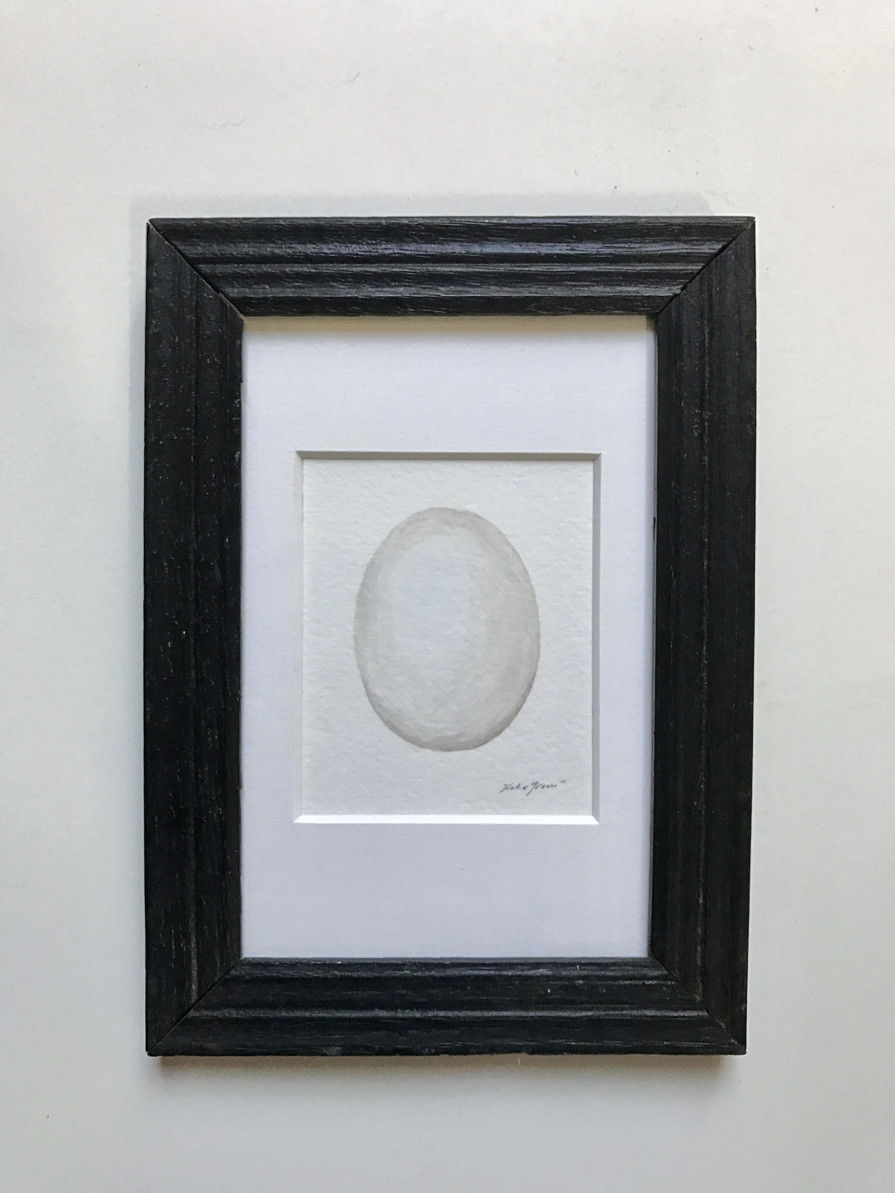 "Great Horned Owl Egg/ Watercolor In A Vintage Gold Painted Frame/ 7 1/4"" X 5 1/4"" / $85"