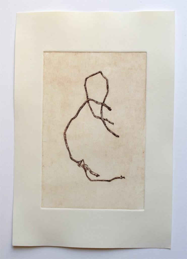 "Sturdy Stick, 6"" x 9"", etching, edition of 7, $45"