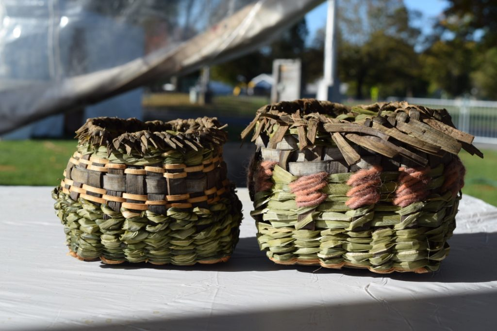 Twined eyeris leaf and black walnut bark baskets