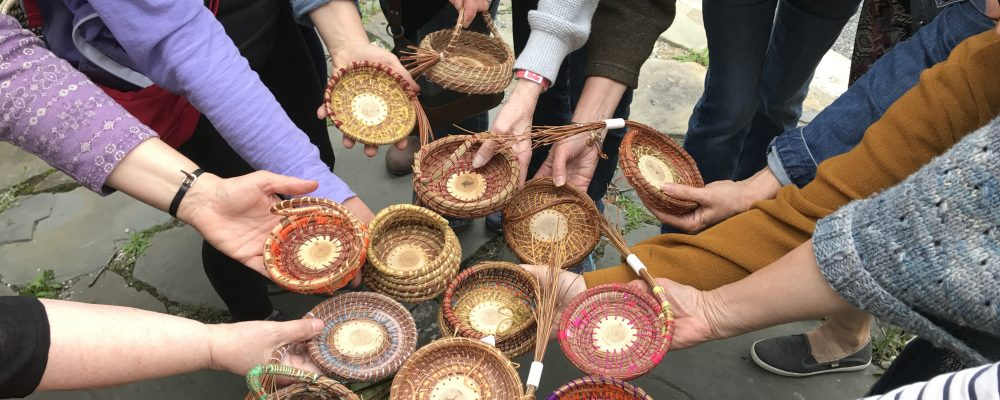 Coiled Pine Needle Baskets At Workshop At White Barn Farm