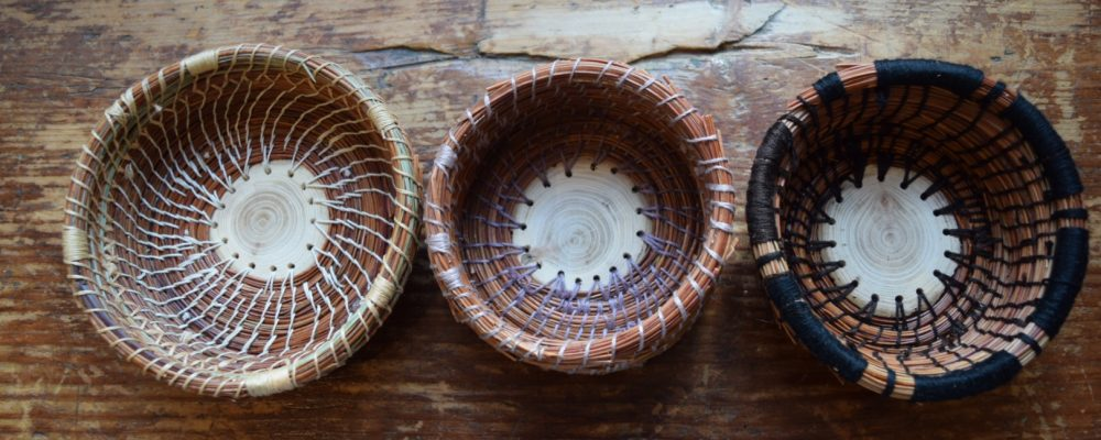 Three Coiled Pine Needle Baskets From Workshop At Drop Forge And Tool, Hudson, NY