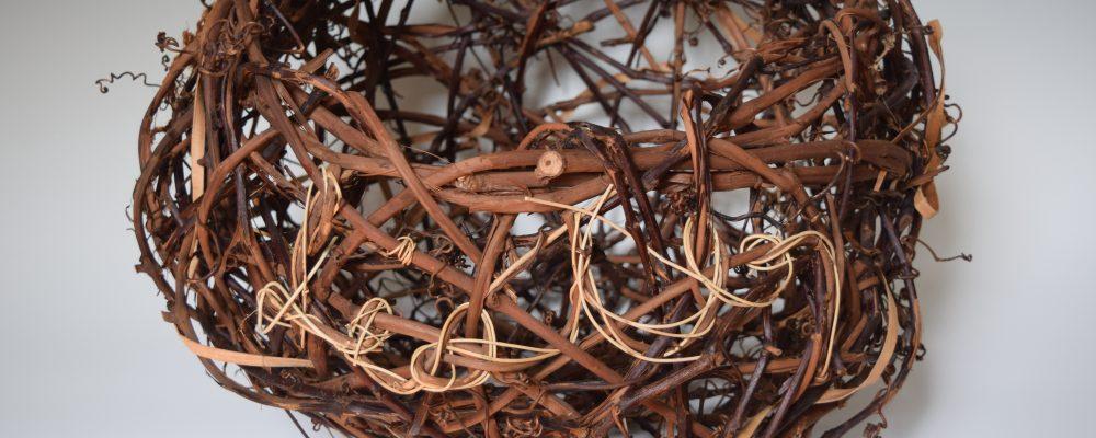 Listen / 21″21″x17″ / Grapevine, Honeysuckle Vine, Elm Inner Bark, Western Red Cedar / NFS