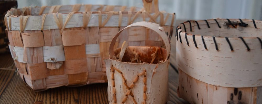 Beautiful Folded And Woven Birch Bark Baskets
