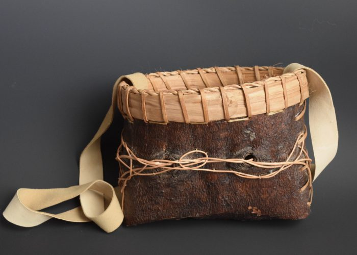 Wandering Honeysuckle Bag  /  9″ X 6 1/2″ X 5″ /  White Pine Bark, Basswood Bark, Honeysuckle Vine, Basswood Cordage,  Vegetable Tanned Leather