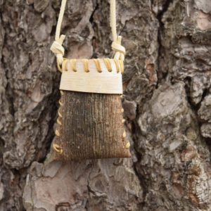 Pine Bark Medicine Necklace With White Rim