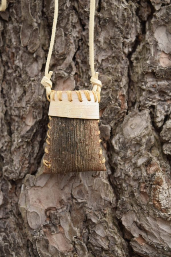 pine bark necklace, folded bark basketry unique jewelery