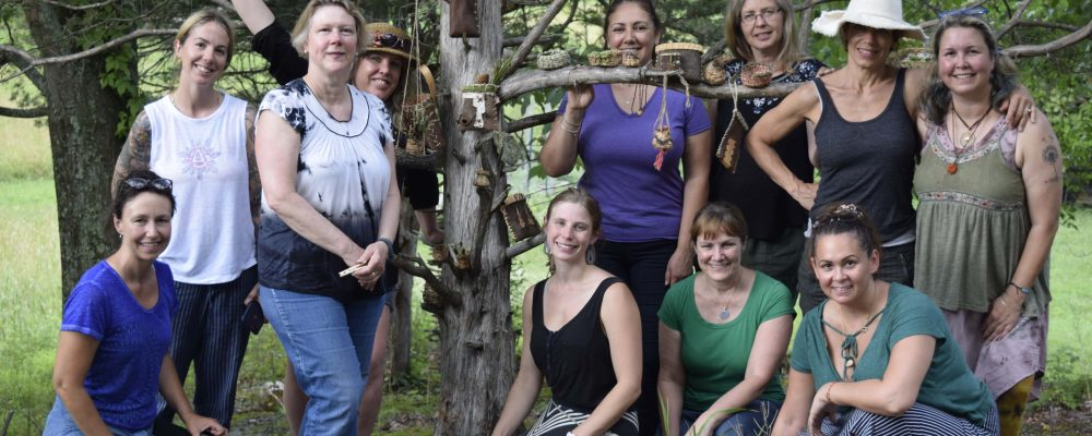 Basketry Weekend Intensive Class Portrait Standing In Front Of The Basket Tree
