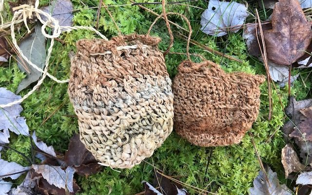 Knotless Netted Bags With Dogbane, Basswood, And Milkweed Fiber